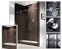 image of aqua frameless sliding glass shower doors