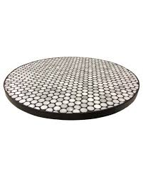 black edge penny tile table top