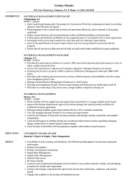 Materials Management Resume Samples Velvet Jobs
