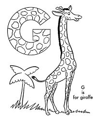 Abc Alphabet Coloring Sheets Abc Giraffe Animal Coloring Page