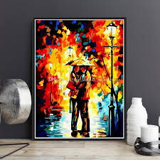 2018 abstract couple umbrella diy paint by numbers hand painted canvas painting home living room office decor painting for living room gift from