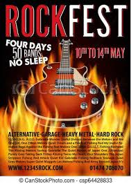 Concert Invite Template Rock Festival Design Template With Rock Guitar And Place For Text Vector Illustration
