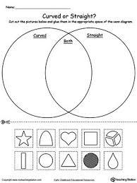 Venn Diagram Printable Worksheets Venn Diagram Shapes Curved Or Straight Shapes Worksheets