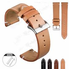 details about 12mm 24mm vintage hand stitched mens leather watch band quick release strap