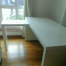 ikea malm desk with pull out panel white furniture on carou rh sg carou com