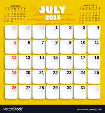 July Month Calendar 2015 Royalty Free Vector Image