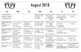 August Calandar August 2018 Activities Calendar Chase City Health Rehab