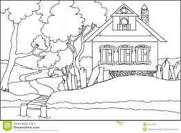 approved house coloring book color the old at river stock vector ilration
