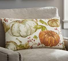 Marvelous Watercolor Painted Pumpkin Patch Lumbar Pillow Cover
