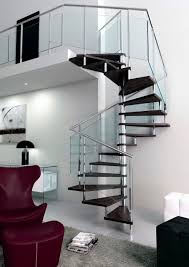 Square spiral staircase / wooden steps / stainless steel frame / without  risers VOLUTED Q-