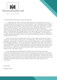 Appeal Letter Format Examples Professional Readmission Letter Sample Personal Letter