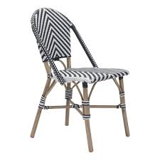 outdoor metal chair. ZUO Paris Metal Outdoor Patio Dining Chair In Black And White (Pack Of 2)