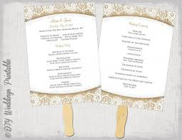 get diy fan programs our sample of wedding program fan template rustic burlap