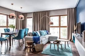 nadmorski apartament Średni salon z jadalnią styl nowoczesny zdjęcie od sas wnętrza i kuchnie