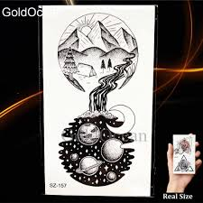 Fashion Small Round Universe Tattoo Stickers Women Body Art Drawing Temporary Tattoo Men Arm Moon Hill Waterproof Tatoos Decals