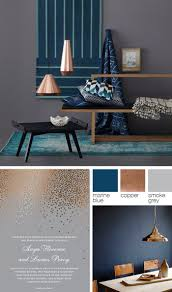 Copper, grey, and blue color palette