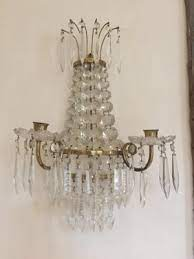 antique crystal wall candleholders set