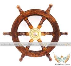 nautical maritime wooden ship steering wheel pirate decor wood brass wall decor 1 of 6free