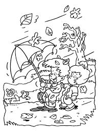 Kleurplaat Herfst Storm Wind Regen Kleurplatennl Thema