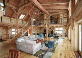 timber frame house with open floor plan and large living room