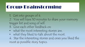 narrative essay group brainstorming get into groups of you  2 group brainstorming
