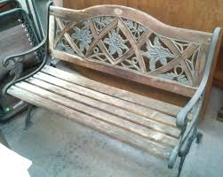 wooden slats bench wrought iron and wood white composite replacement timber slat seat