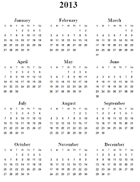 Calendar 2013 Template 2013 Print Calendars Printable Yearly Calendar 2013 2013