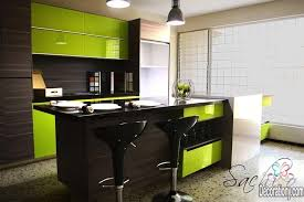 lime green and brown kitchen colors