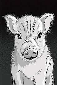 白黒イノシシうり坊のアップ亥年の年賀状2019背景縦無料イラスト