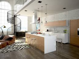 this contemporary kitchen plays off of a variety of textures and neutrals to create a warm lived in look the graphic pattern of the black and white area