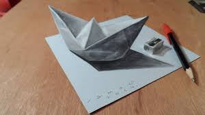3d painting on paper with pencil drawing a 3d paper ship optical illusion vamos you