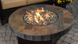 round gas fire pit table. Sensational Round Gas Fire Pit Table Patio Outdoor Firepit With Wicker Chair For F