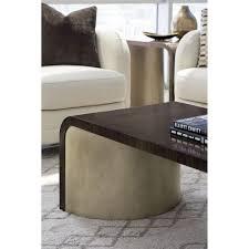 goode modern classic dark wood bronze curved rectangular waterfall coffee table kathy kuo home