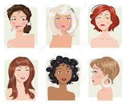 女性の髪型や外観の種類のセット ロイヤリティフリークリップアート