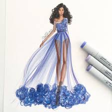 Model Dress Design Drawing A Violet Morning Sketched With Copicmarker Fashion