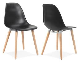 Scandi Style Modern Plastic Dining Chairs With Wooden Legs  Pair