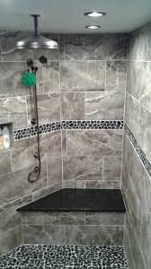 modern shower remodel. Simple Shower Shower Curb Tile Elegant Modern Remodel Using Sliced Charcoal Black  Pebble Throughout