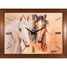 Orologio da parete con movimento al quarzo cavalli in primo piano