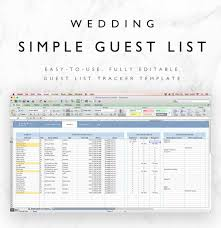 Wedding Guest List Spreadsheet Wedding Guest List Tracker Wedding Rsvp List Rsvp Tracker Instant Download Excel Fully Editable
