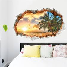 sunset sea beach wall decals decorative stickers living
