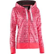 under armour breast cancer. hot pink logos stand out on this black fleece jacket. under armour breast cancer