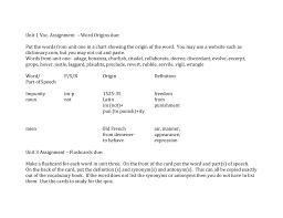 Word Origins Website Unit 1 Voc Assignment Word Origins Due Put The Words