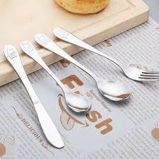 <b>4pcs</b>/<b>set Baby</b> Dishes Stainless Steel <b>Teaspoon Spoon</b> Fork Knife ...