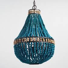 turquoise wood bead teardrop 3 light chandelier