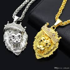 whole fashion gift 18k gold plated lion head crown rhinestone crystal pendant necklace with rope chain 28 inch silver pendant necklace gold pendant