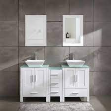 Amazon Com 60 Bathroom Vanity Cabinet With Double Sink Combo Glass Top White Mdf Wood W Mirror Faucet Drain Set Kitchen Dining