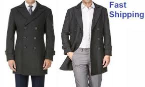 Mens Double Breasted Wool Blend Coat Charcoal Braveman Size L