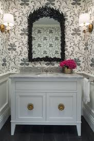 powder room furniture. Stunning Powder Room With Gray Botanical Print Wallpaper On Upper Walls Over Wainscoting Clad Lower Atop Hardwood Effect Floor Tile. Furniture I