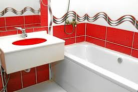 nice white floating vanity feat white rectangle bathtub also red