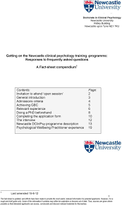 getting on the newcastle clinical psychology training programme open session 2 general introduction 3 admissions criteria 4 achieving gbc 5 relevant experience 6 doing